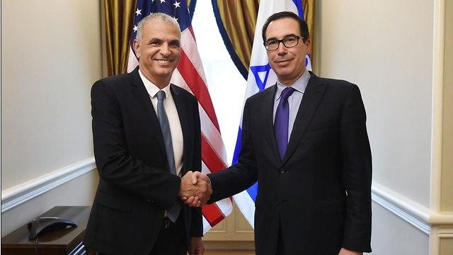 Finance Minister Moshe Kahlon and US Secretary of the Treasury Steven Mnuchin