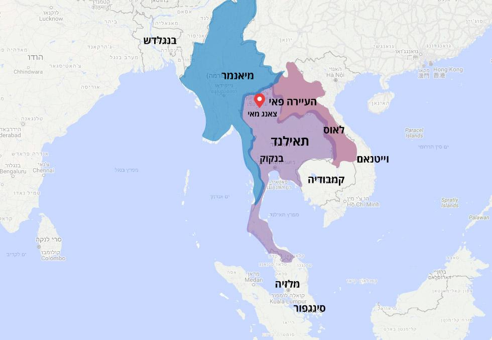 מפה תאילנד שכנות עיירה פאי צפון תאילנד ישראלי נהרג ב ירח דבש אסון ()
