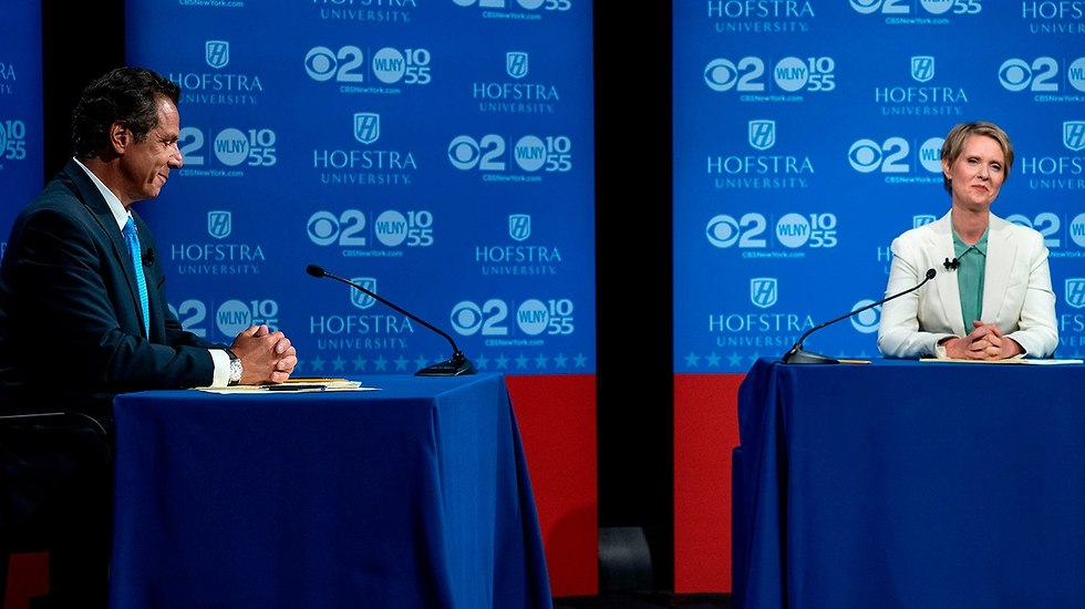 סינתיה ניקסון ו אנדרו קומו מושל ניו יורק עימות לקראת הפריימריז הדמוקרטיים ארה