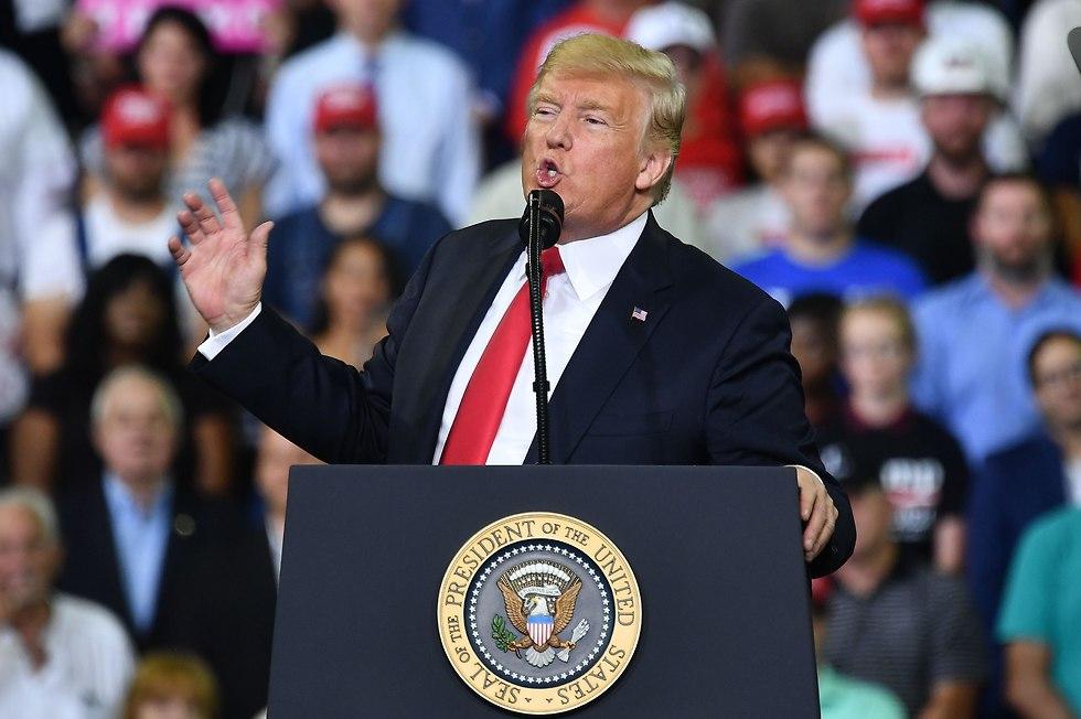 טראמפ בעצרת באינדיאנה (צילום: AFP)