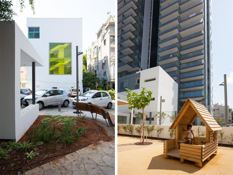 מימין: מגדל אסותא ברקע הגן. משמאל: מבט מהרחוב. הקובייה הצחורה מתאימה בממדיה לפרופורציות של השכונה. חלון צהוב מלווה את חדר המדרגות (צילום: דור נבו)