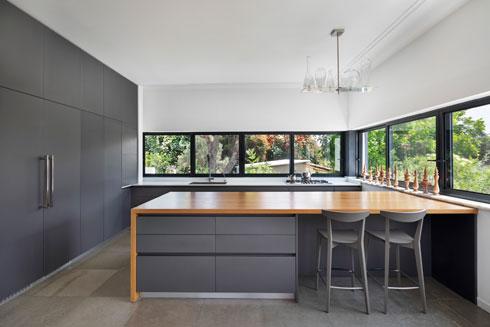 חלון סרט פינתי במטבח (צילום: אסף פינצ'וק)