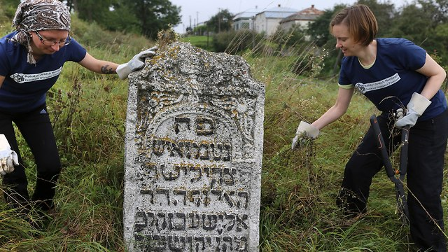 Volunteers clean an old Jewish cemetery in Rohatyn
