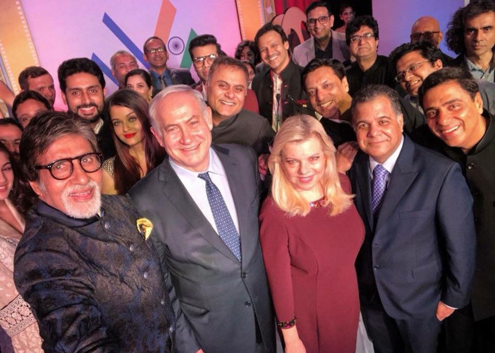 Prime Minister Benjamin Netanyahu and his wife Sarah visit a Bollywood production. (Photo: GPO)