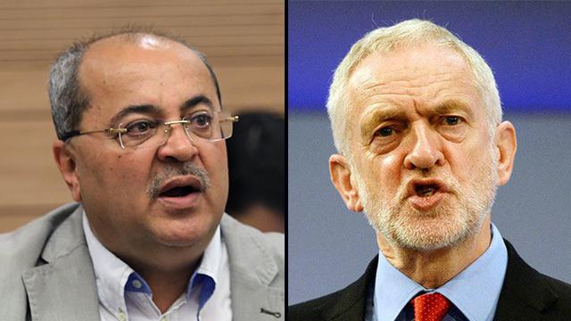 Joint List MK Ahmad Tibi and Jeremy Corbyn (Photo: Reuters, Alex Kolomoisky)