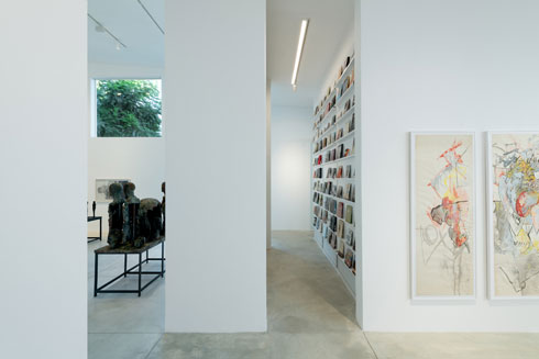 קיר של ספרי אמנות וקטלוגים מוביל למשרד (צילום: גדעון לוין)