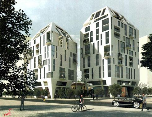 """""""תאודור"""" בתכנון אילן פיבקו. 160 דירות בשני בניינים בני 12 קומות  (הדמיה: סטודיו 84)"""