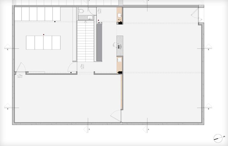 תוכנית קומת הקרקע של גלריה אלון שגב (שרטוט: arstudio ארנון ניר אדריכלות)