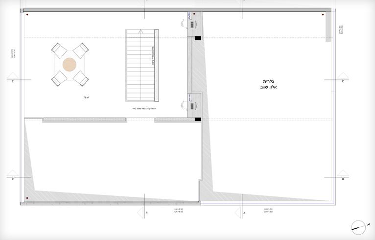 תוכנית הקומה העליונה של גלריה אלון שגב (שרטוט: arstudio ארנון ניר אדריכלות)