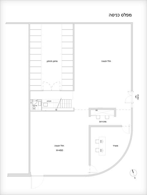 תוכנית קומת הקרקע של גלריה גורדון (שרטוט: Ron Arad Architects)