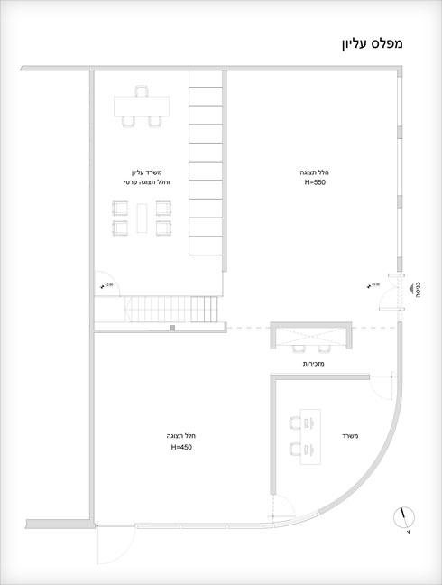 תוכנית הקומה העליונה של גלריה גורדון (שרטוט: Ron Arad Architects)
