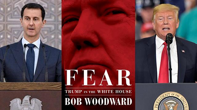 "The book ""Fear"", Trump and Assad (Photo: AP, AFP, EPA)"