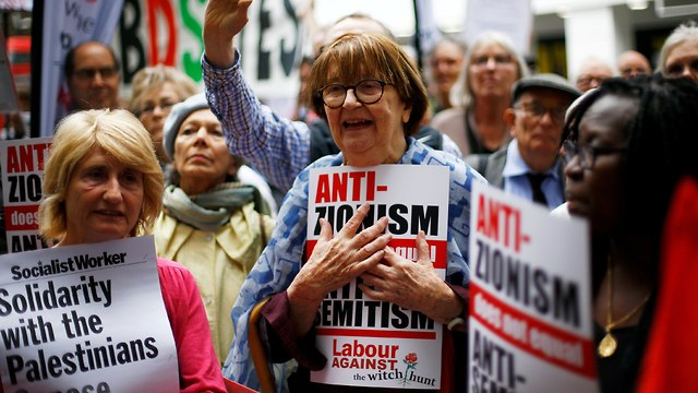 Anti-Israel protesters at a demonstration in support of Jeremy Corbyn in London (Photo: Reuters)