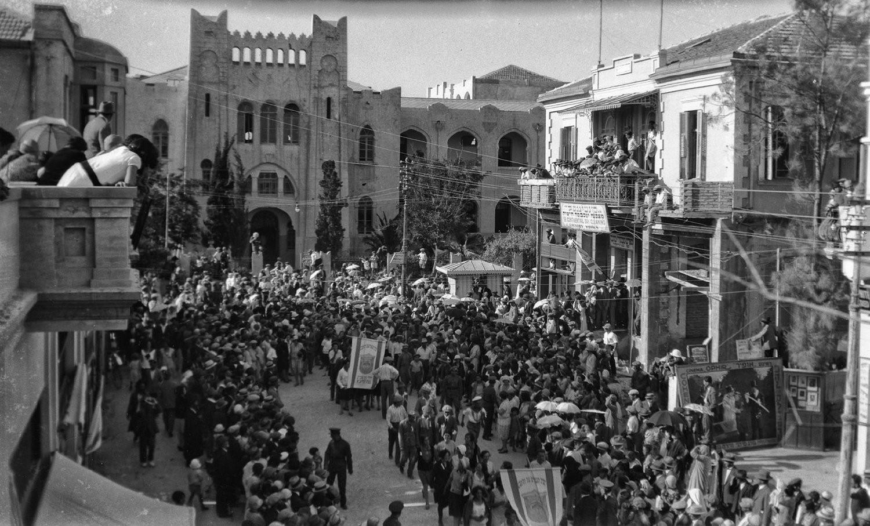 פעם זו הייתה הגימניסה העברית הרצליה - היום היא מגדל שלום (צילום: אברהם סוסקין, מוזיאון ארץ ישראל, אוסף סוסקין)