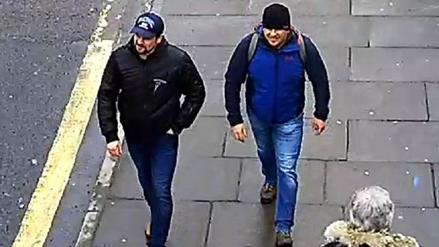 Men who Britain blames for poisoning former spy Sergei Skripal  (Video: Getty)
