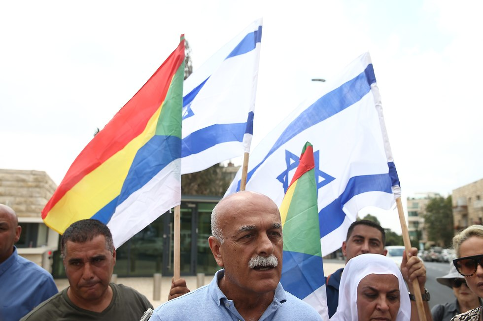Brig. Gen. (res). Amal Asad with other protesters outside the President's Residence (Photo: Ohad Zwigenberg)