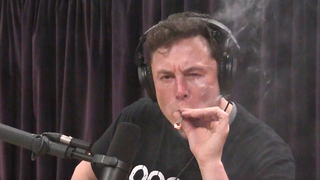 מאסק מעשן מריחואנה בשידור חי (מתוך יוטיוב)