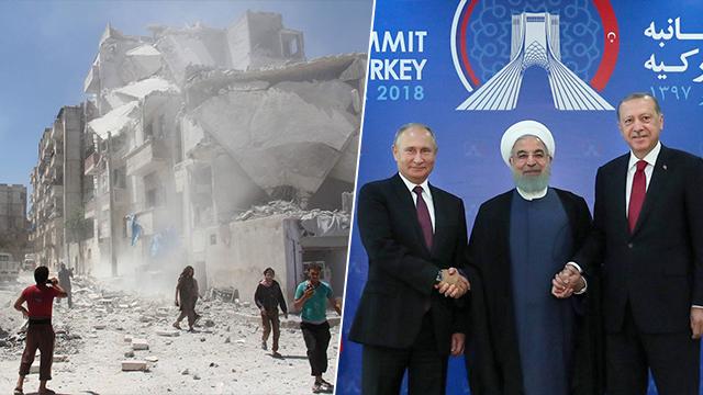 רג'פ טאיפ ארדואן עם ולדימיר פוטין  ו חסן רוחאני  ב טהרן פסגה משולשת (צילום: EPA, AFP)