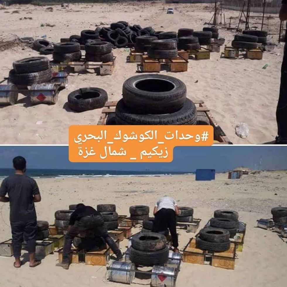Incendiary tires on Gaza beaches