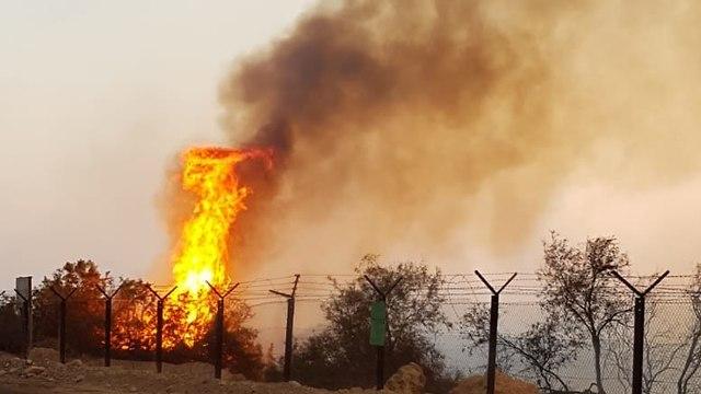 השריפה באזור עינות צוקים (צילום: דוברות כב