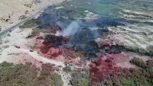 שריפה בעינות צוקים (צילום: דודו זכאי רשות הטבע והגנים)