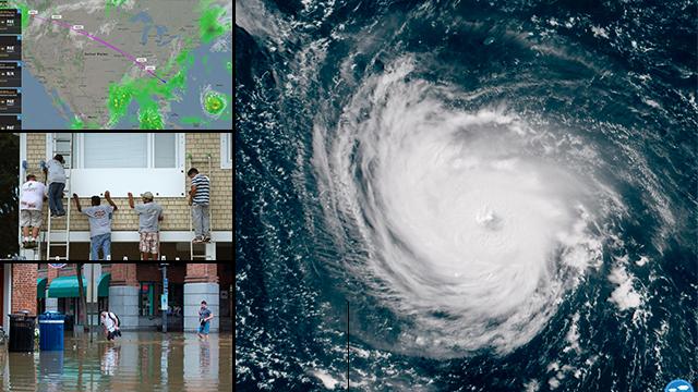 התקרבות סופת הוריקן פלורנס (צילום:AFP )