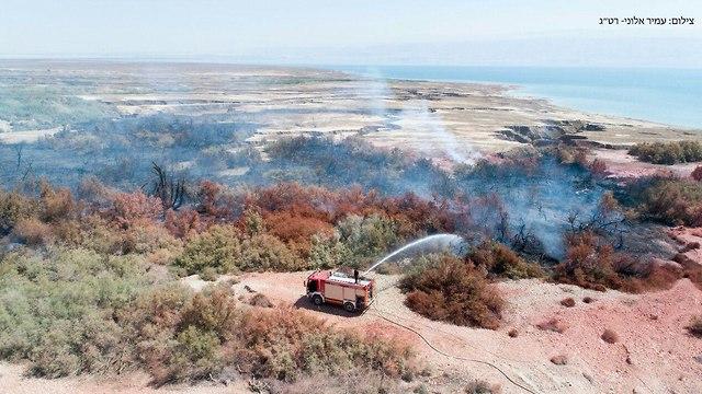 כיבוי השריפה בעינות צוקים (צילום: עמיר אלוני, רשות הטבע והגנים )