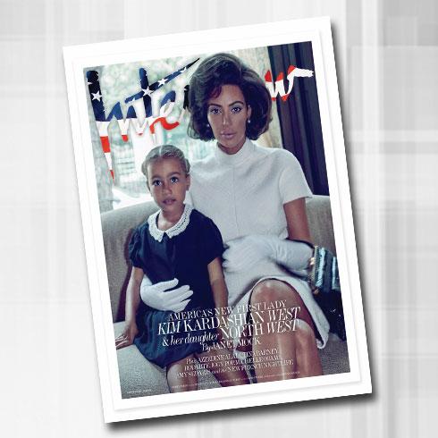 הגברת הראשונה של אמריקה האחרת: קים במחווה לג'קי קנדי, עם בתה נורת' ווסט