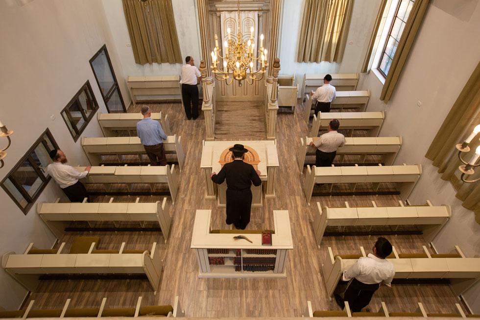 אולם התפילה, שתקרתו מתנשאת לגובה של 9 מטרים, יכול לאכלס כ-60 מתפללים וכ-20 מתפללות (צילום: דור נבו)