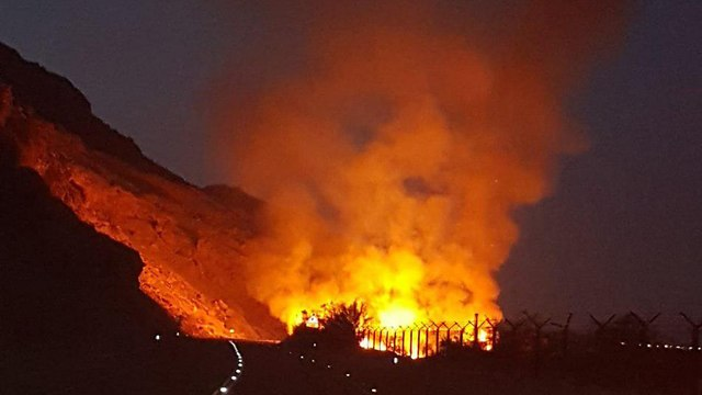 Fire burns at Ein Tzukim Nature Reserve  (Photo: Firefighters spokesman)