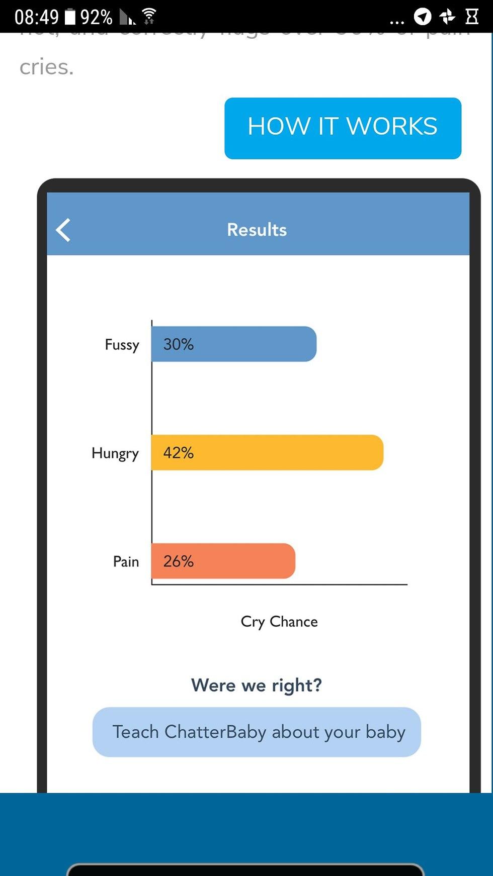 צילום מסך של אפליקציה המסייעת לחרשים לשמוע בכי תינוק ()