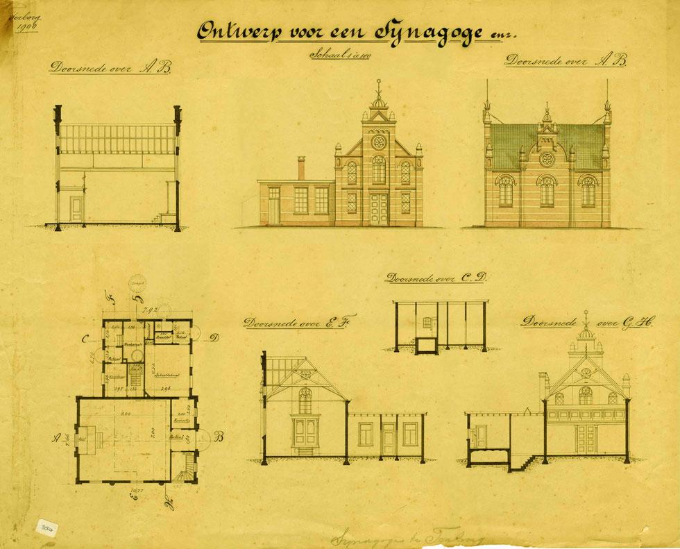 התוכניות הללו של האדריכל אובינג, שנעשו לפני 118 שנה, נמצאו תוך כדי חיפוש שורשים של תושב מבוא חורון - ושימשו בסיס להקמת בית הכנסת (צילום: פסח פופ)