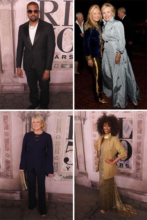 צמרת האופנה, הפוליטיקה והחברה. הילרי קלינטון, אימאן, מרתה סטיוארט וקניה ווסט מגיעים לתצוגה של ראלף לורן (צילום: Rob Kim/GettyimagesIL, AP)