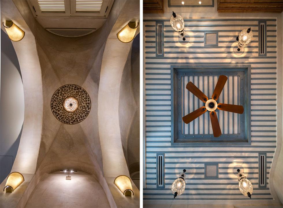 המרכיב הבולט והמרכזי בבית הוא תקרות החדרים. בכל חדר עוצבה תקרה אחרת לגמרי, יצירה בפני עצמה (צילום: אילן נחום)