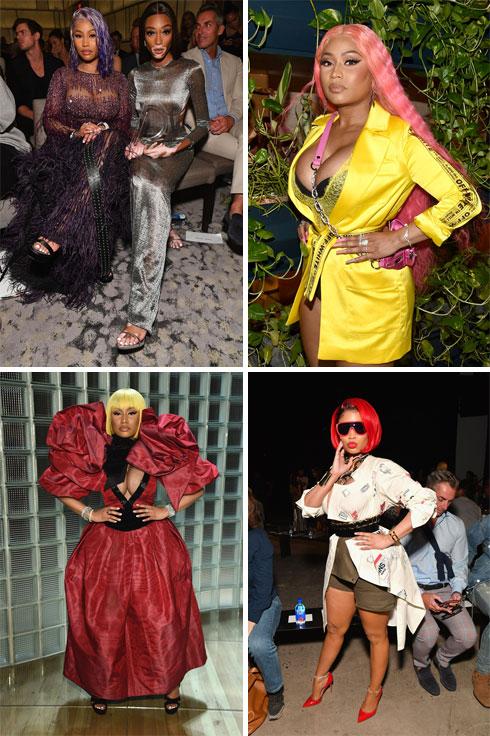 תלבושות במקום מהלומות. ניקי מינאז' בשבוע האופנה (צילום: Bryan Bedder,Dia Dipasupil,Dimitrios Kambouris/GettyimagesIL)