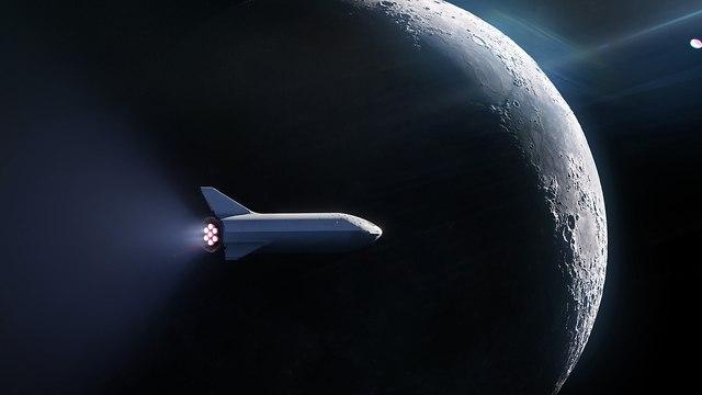 הדמיה של החללית ליד הירח (הדמיה: spaceX)