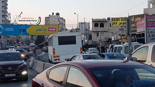 Military bus which accidently entered Palestinian refugee camp