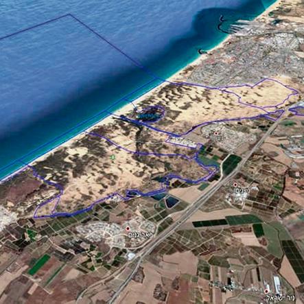 גבולות השמורה הימית (מסומנים בכחול) שתתפרש על פני 70 אלף דונם