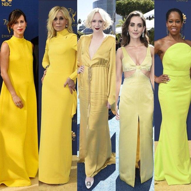 צהוב עולה: רג'ינה קינג, אליסון ברי, גוונדלין כריסטי, ג'ודית לייט וסופי האנטור (AP)