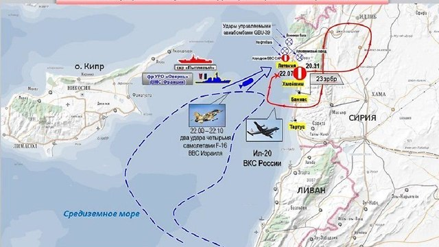 A map released by Russia detailing events that lead to plane downin (Photo: Russian Defense Ministry)