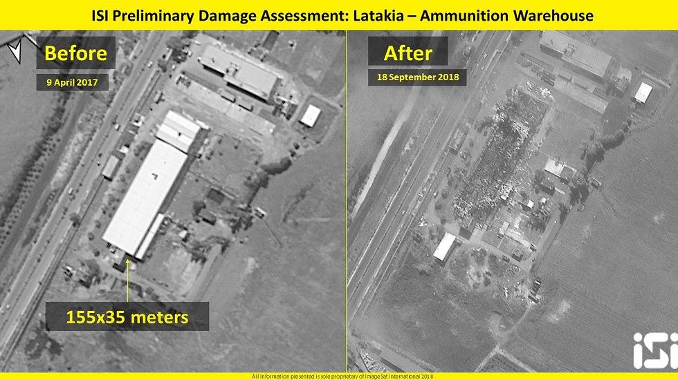 Склад оружия - до и после (Photo:  ImageSat International (ISI))