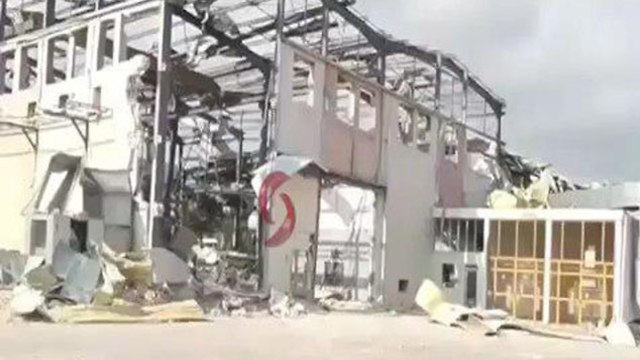 Debris and damage caused by the strike in Latakia, Syria