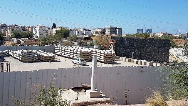 Light rail construction works site