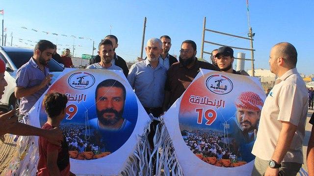 מנהיג חמאס יחיא סינוואר הפגנות גדר עזה ()