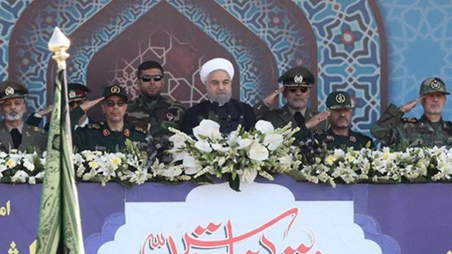 Iran's President Hassan Rouhani delivering speech during military parade