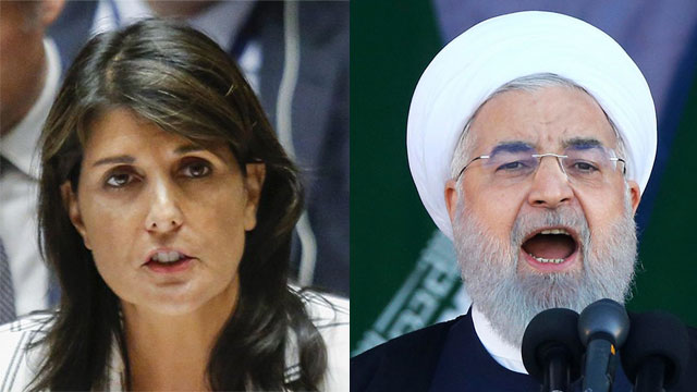 US Amb. to UN Nikki Haley (L) and Iran's President Hassan Rouhani (Photo: AFP, AP)