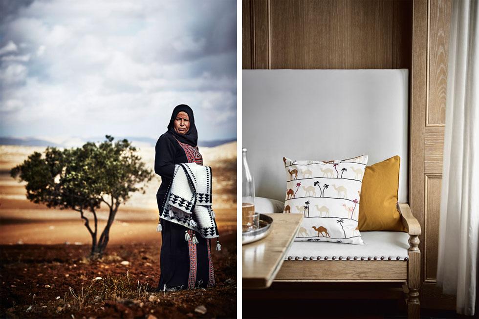 מימין: הנשים הוזמנו לרקום על הכריות המודפסות תוספות צבעוניות כראות עיניהן. משמאל: אמנה אל-רוואמנה, אורגת בדואית, עם השטיח שנכנס לקולקציה (צילום: Inter IKEA Systems B.V)
