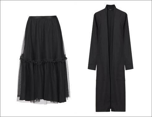 מעיל ארוך, 790 שקל; חצאית טול שחורה, 650 שקל (צילום: עדי גלעד)