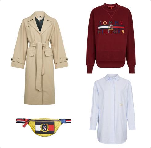 סווטשירט עם לוגו, 1,049 שקל; חולצת אריג עם רקמה, 499 שקל; מעיל טרנץ', 1,490 שקל; פאוץ' צהוב, 1,190 שקל