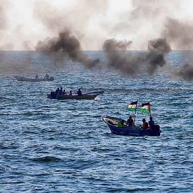 הפרות סדר ימיות מול עזה בתחילת החודש | צילום: רויטרס